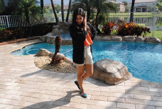 polka dots, fashion, scalloped. scalloped shorts, cute, fashion blogger, orange, cardigan, outfit, black cardigan, my style