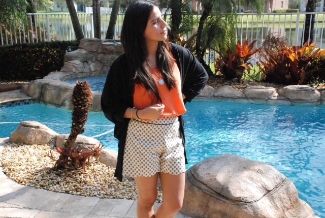 polka dots, fashion, scalloped. scalloped shorts, cute, fashion blogger, orange, cardigan, outfit, black cardigan, my style