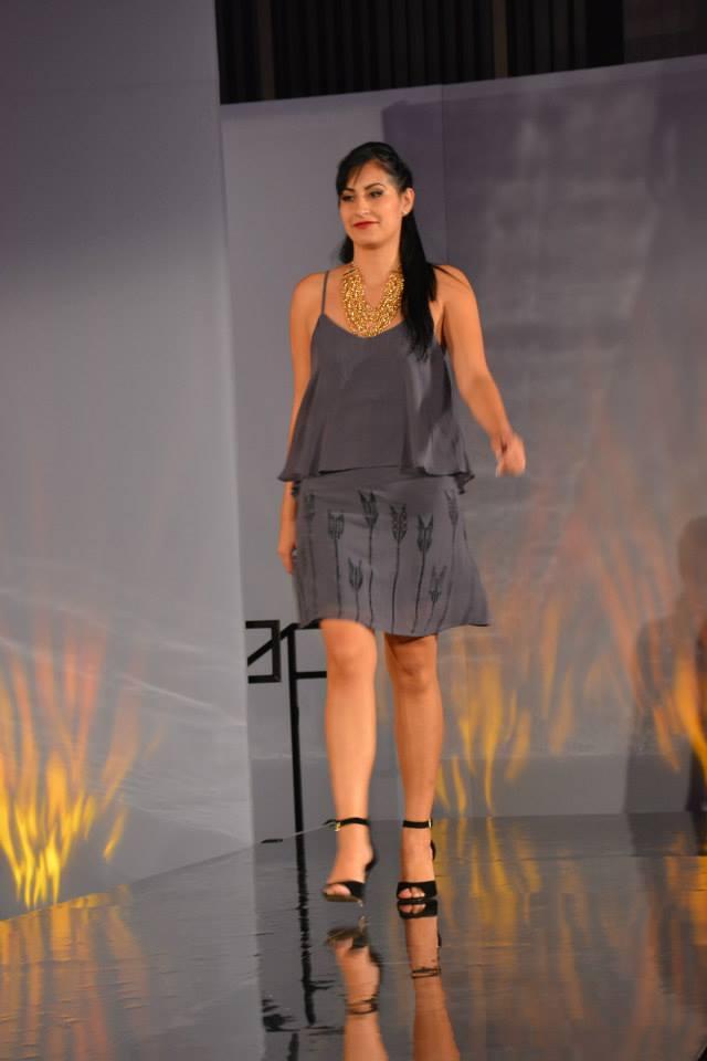 Lynn university, fashion show, dress, purple dress, tribal print, model
