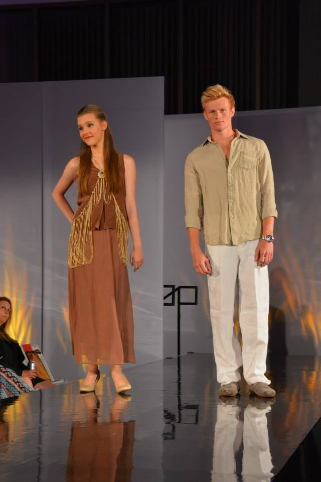 lynn university, fashion show, silk, tank top, model