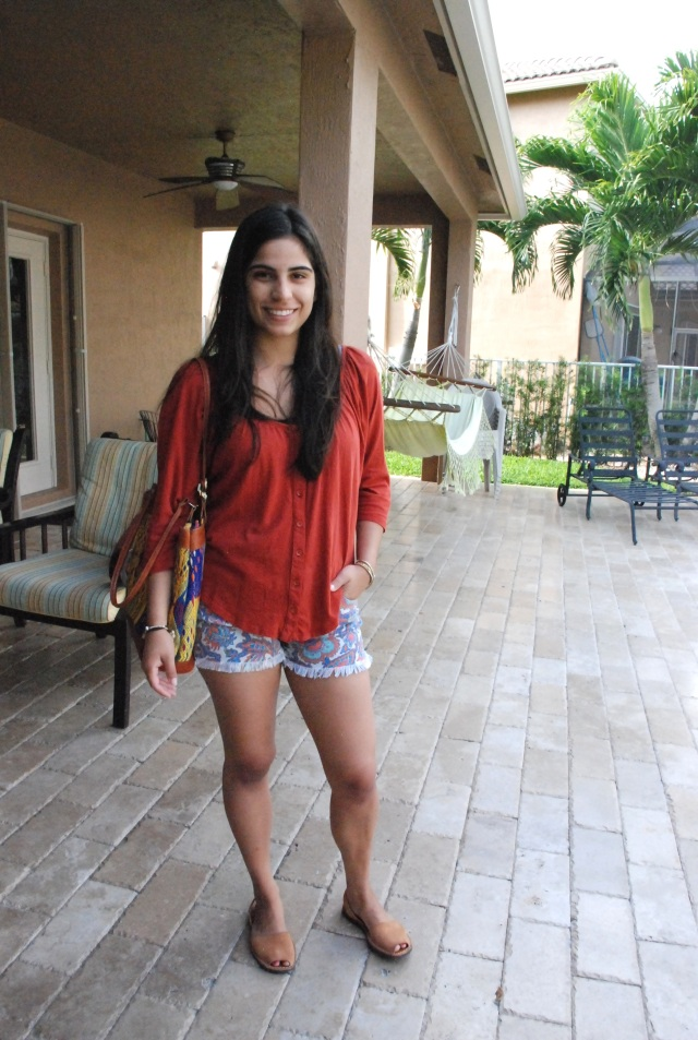 outfit, my style, cut off shorts, shorts, denim shorts, rachel roy, orange, orange top, casual, online shopping