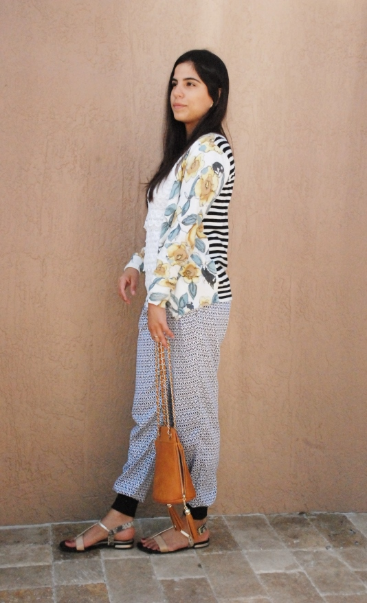 track pants, harem pants, prints, florals, stripes, cardigan, stiped cardigan, outfit, my style, online shopping