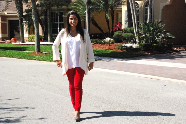 androbel, fashion, skinny pants, red apple pants, corduroy, michael kors, blazer, ootd