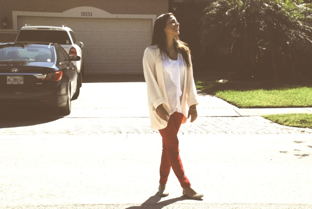 androbel, fashion, skinny pants, red apple pants, corduroy, michael kors, blazer, ootd